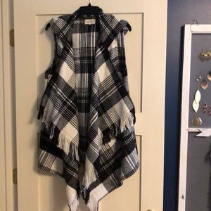 Black & white plaid vest
